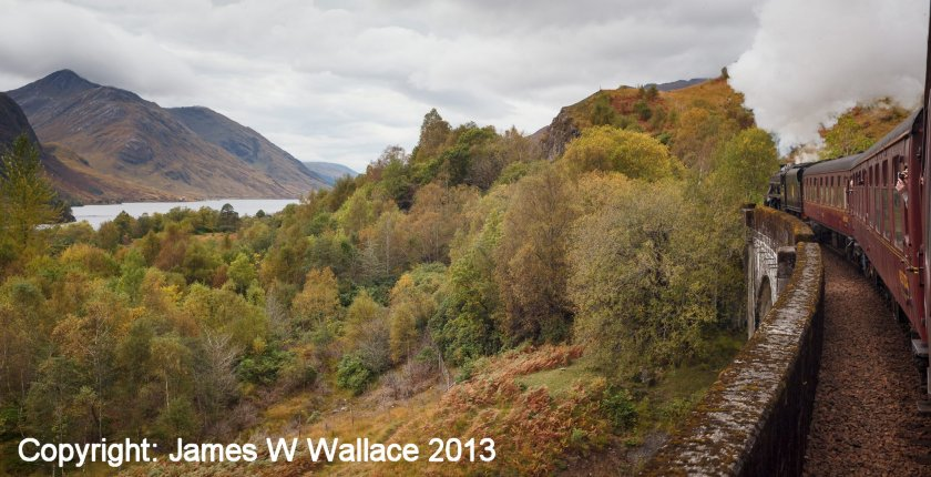 Fort William - Mallaig railway views - Glenfinnin Viaduct and loch
