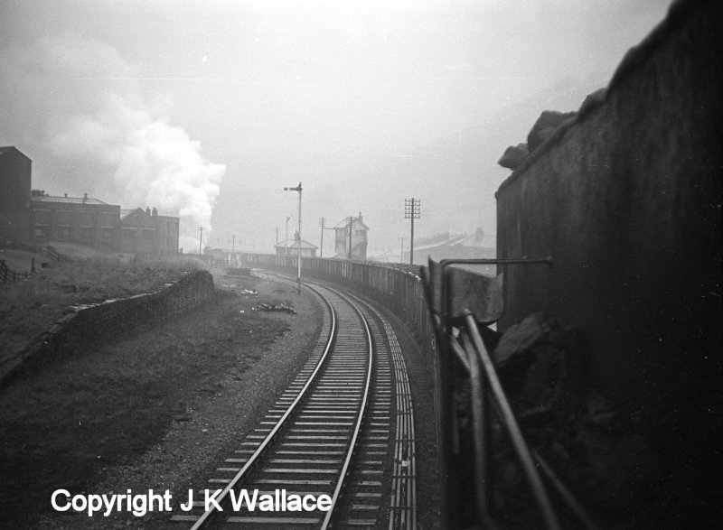 View from the cab of a WD 2-8-0 Austerity on a Copy Pit-bound mineral train passing Portsmouth station and signal box.