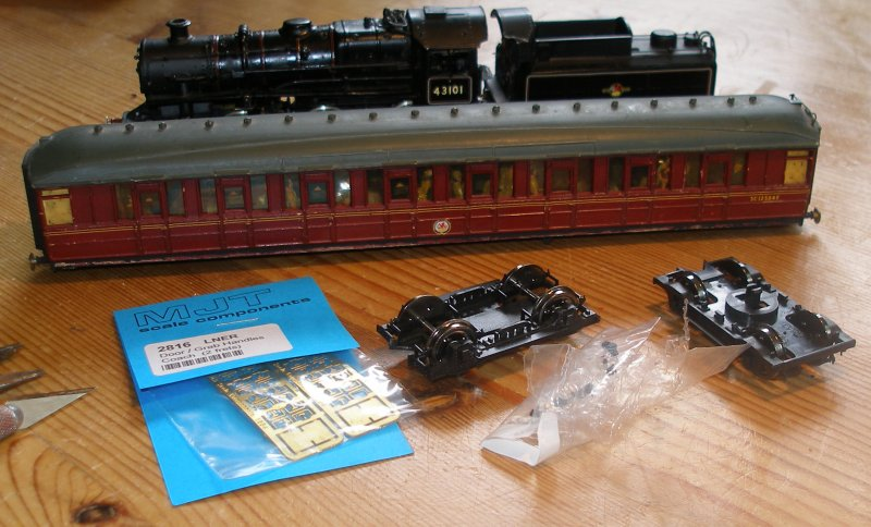Parts required to make a Gresley Route Learning Carriage in OO