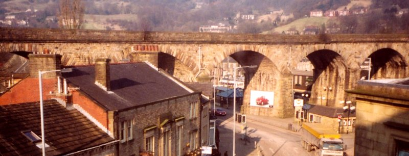 Todmorden Viaduct photographed from the upper floor of the Town Hall c. 2005