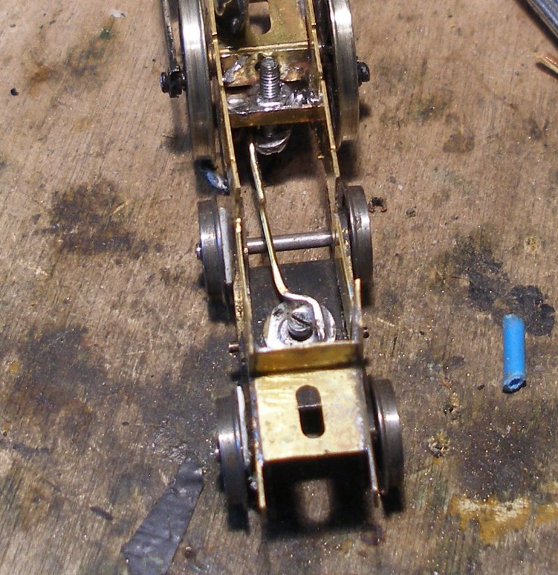 Now the bogie could be refitted. A nut was soldered into the stretcher and a bolt inserted from below to secure the bogie.