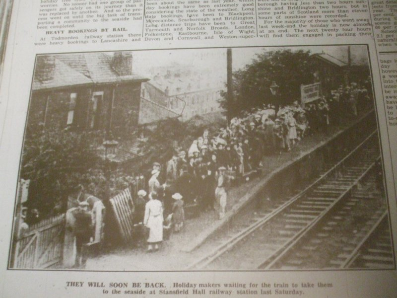Stansfield Hall Halt as it appeared in the Todmorden Advertiser on 17 July 1936 showing excursionists gathering for their special train.