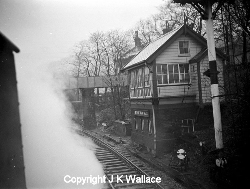 Stansfield signal box and footbridge seen from the cab of a WD Austerity 2-8-0 taking the Copy Pit line with a mineral train.