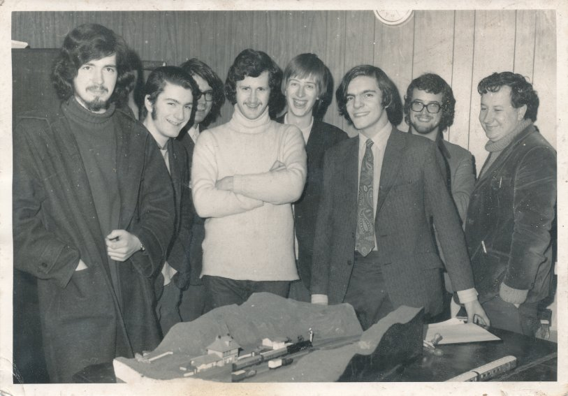 The Steamport Model Railway Club circa 1972 on Friday club night. Left to right: Keuth Wallace, Jonathan Wray, Tom Bell, Phil Kirby, Phil Mouldycliff, Nick Woods and Chris Young Photo coutesy of Trinity Mirror