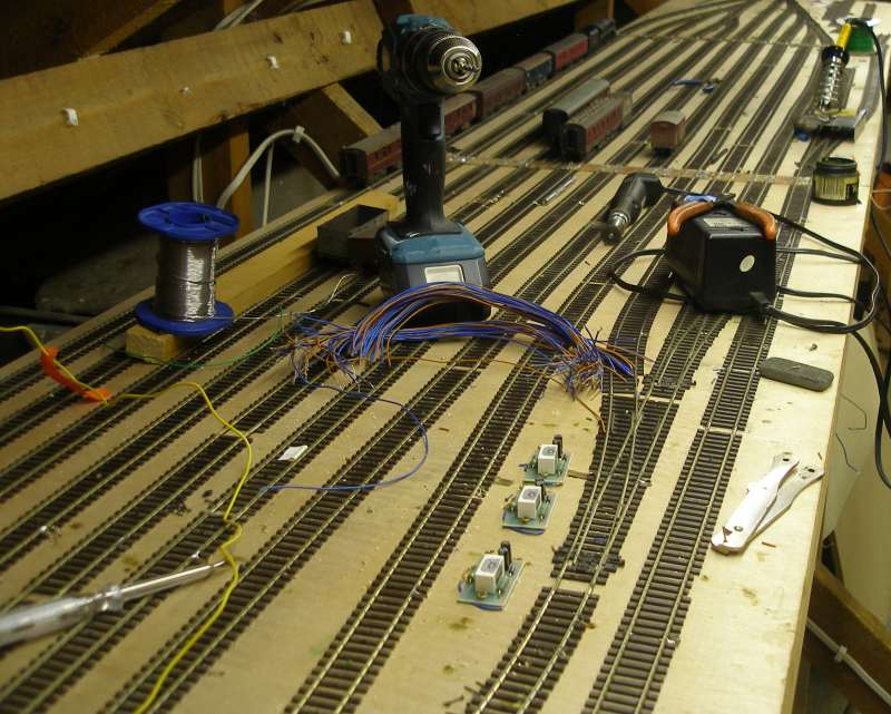 Hall Royd Junction with half of relayed storage yard completed with DCC droppers being prepared