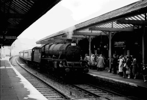 Jubilee 45711 arrives at Todmorden with another excursion for the Lancashire coast in 1963