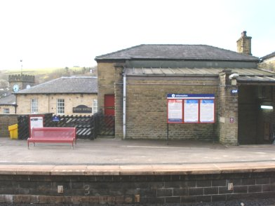 Todmorden Railway Station: Main station building, platform side, first section moving from east top west on 19 April 2013
