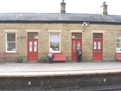 Todmorden Railway Station: Main station building, platform side, fourth section moving from east top west on 19 April 2013