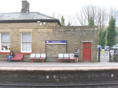 Todmorden Railway Station: Main station building, platform side, seventh section moving from east top west on 19 April 2013