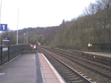 Todmorden Railway Station: Manchester-end of Platform 2 taken from Platform 1 looking westwards on 19 April 2013
