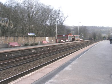 Todmorden Railway Station: Platform 2 taken from Platform 1 looking easttwards on 19 April 2013