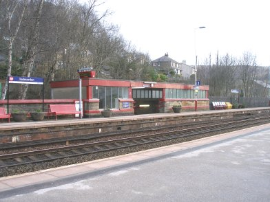 Todmorden Railway Station: Platform 2 subway exit taken from Platform 1 looking easttwards on 19 April 2013