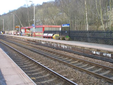 Todmorden Railway Station: Platform 2 taken from Platform 1 looking westwards on 19 April 2013