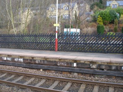 Todmorden Railway Station: section of Platform 2 taken from Platform 1 looking eastwards on 19 April 2013