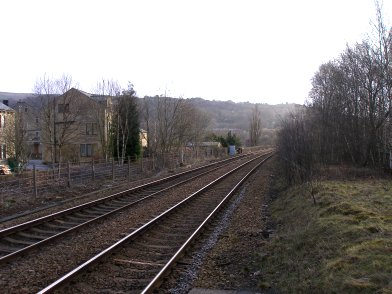 Looking towards Leeds from the end of Platform 1 on Todmorden Railway Station on 19 April 2013