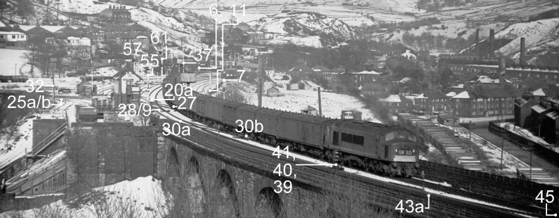 Todmorden East showing principle signalling features circa 1966