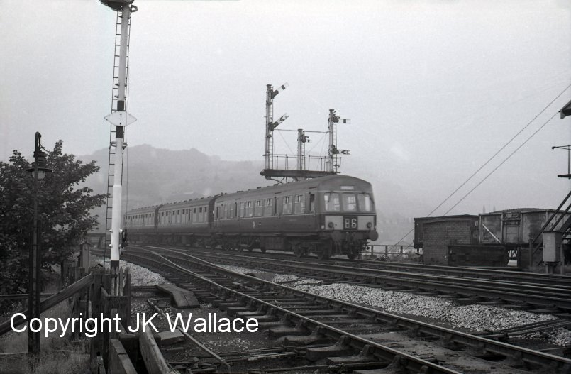 Todmorden East Junction 1967 with a hybrid DMU set made up of Class 101 Driving Motor Brake 50256, and two Class 110 trailers.