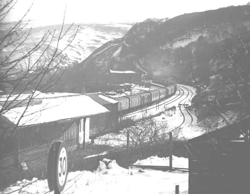 11.50 Newcastle – Red Bank Manchester Empty Newspaper Vans passing the site of Todmorden West Signal Box 17.30 on Sunday 3 April 1966
