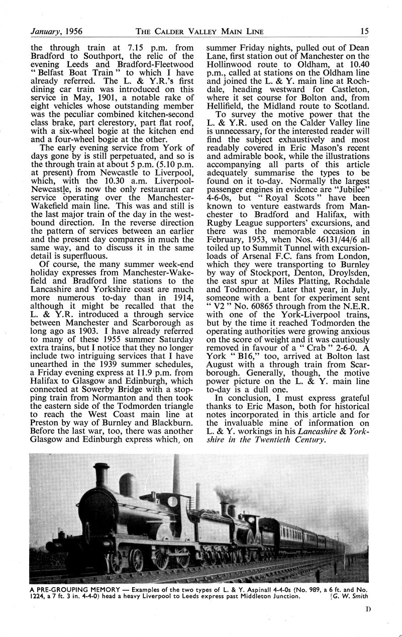 Calder Valley Main Line article Part 3, Trains Illustrated January 1956