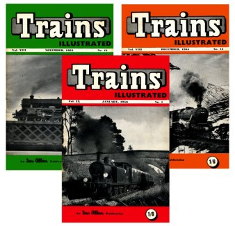 Trains Illustrated magazine covers: November 1955, December 1955 and January 1956