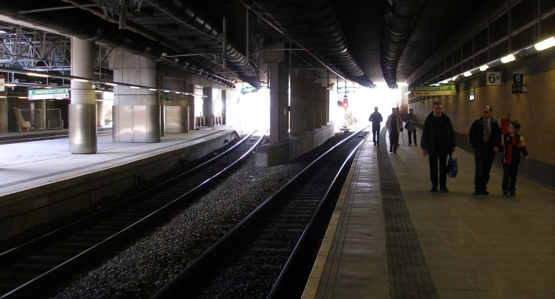 Manchester Victoria Railway Station 11 April 2015 on the occasion of a guided tour organised by the Lancashire & Yorkshire Railway Society: Platform 6a