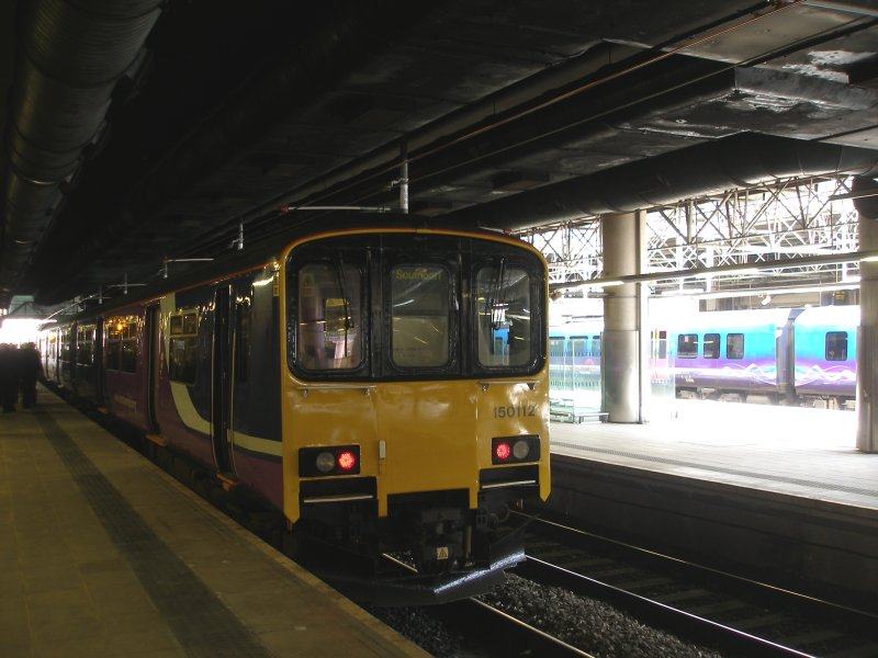 Manchester Victoria Railway Station 11 April 2015 on the occasion of a guided tour organised by the Lancashire & Yorkshire Railway Society: Southport train on platform 6