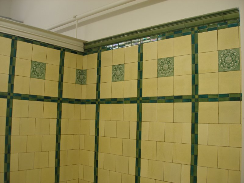 Manchester Victoria Railway Station 11 April 2015 on the occasion of a guided tour organised by the Lancashire & Yorkshire Railway Society: orginal lavatory green and cream tiling