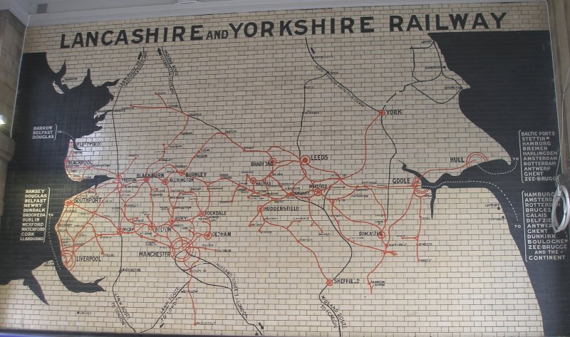 Manchester Victoria Railway Station 11 April 2015 on the occasion of a guided tour organised by the Lancashire & Yorkshire Railway Society: the famous Lancashire & Yorkshire Railway tiled mapshowing Fleetwood, Blackpool, Southport and Liverpool in the west, Manchester in the lower centre and York, Goole and Sheffield in the east.
