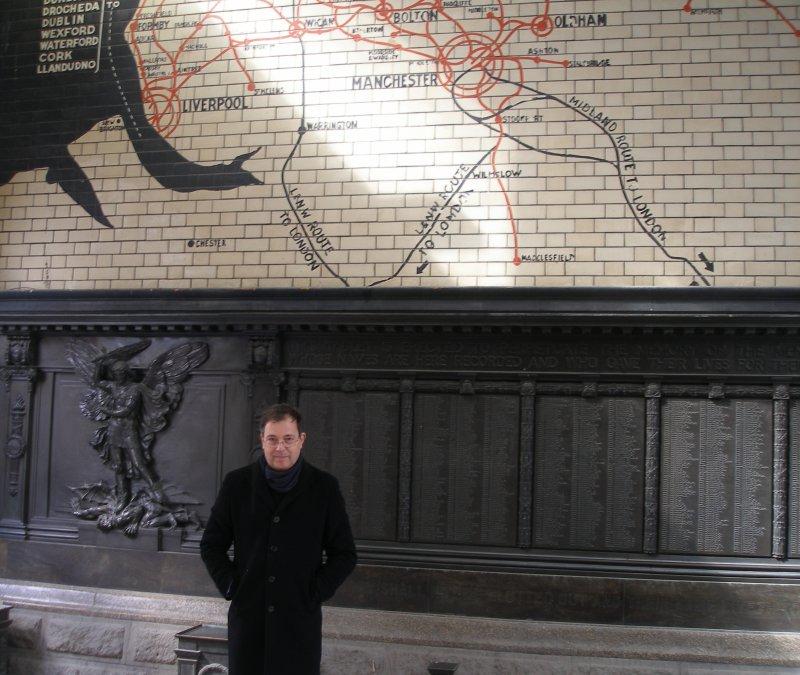 Keith Wallace in front of the L&YR tiled line map at Manchester Victoria on Saturday 11 April 2015