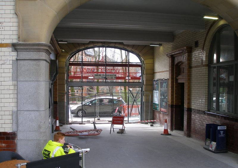Manchester Victoria Railway Station 11 April 2015 on the occasion of a guided tour organised by the Lancashire & Yorkshire Railway Society:  entrance passageway