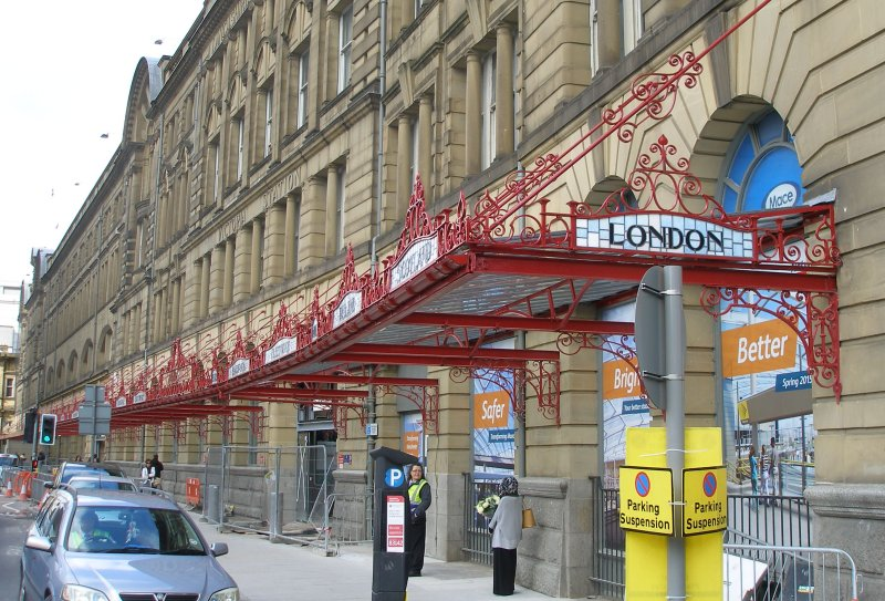 Manchester Victoria Railway Station 11 April 2015 on the occasion of a guided tour organised by the Lancashire & Yorkshire Railway Society: exterior showing restored canopy over the pavement