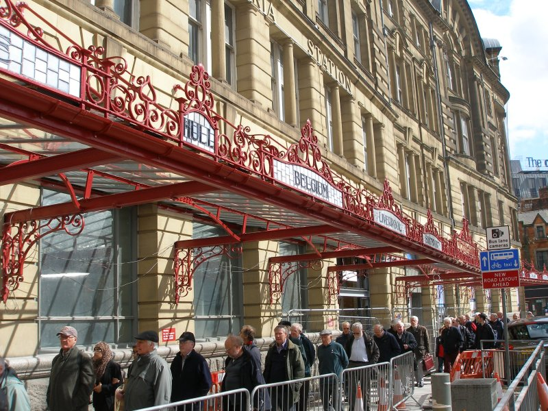 Manchester Victoria Railway Station 11 April 2015 on the occasion of a guided tour organised by the Lancashire & Yorkshire Railway Society: restored exterior canopy