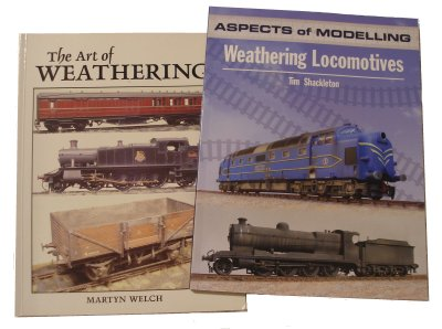 Two classic model railway weatherig 'bibles': Martyn Welch's 'The Art of Weathering' and Tim Shackleton's 'Aspects of Modelling: Weathering Locomotives'