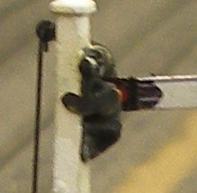 Working backlighter affixed to original Hornby Dublo signal