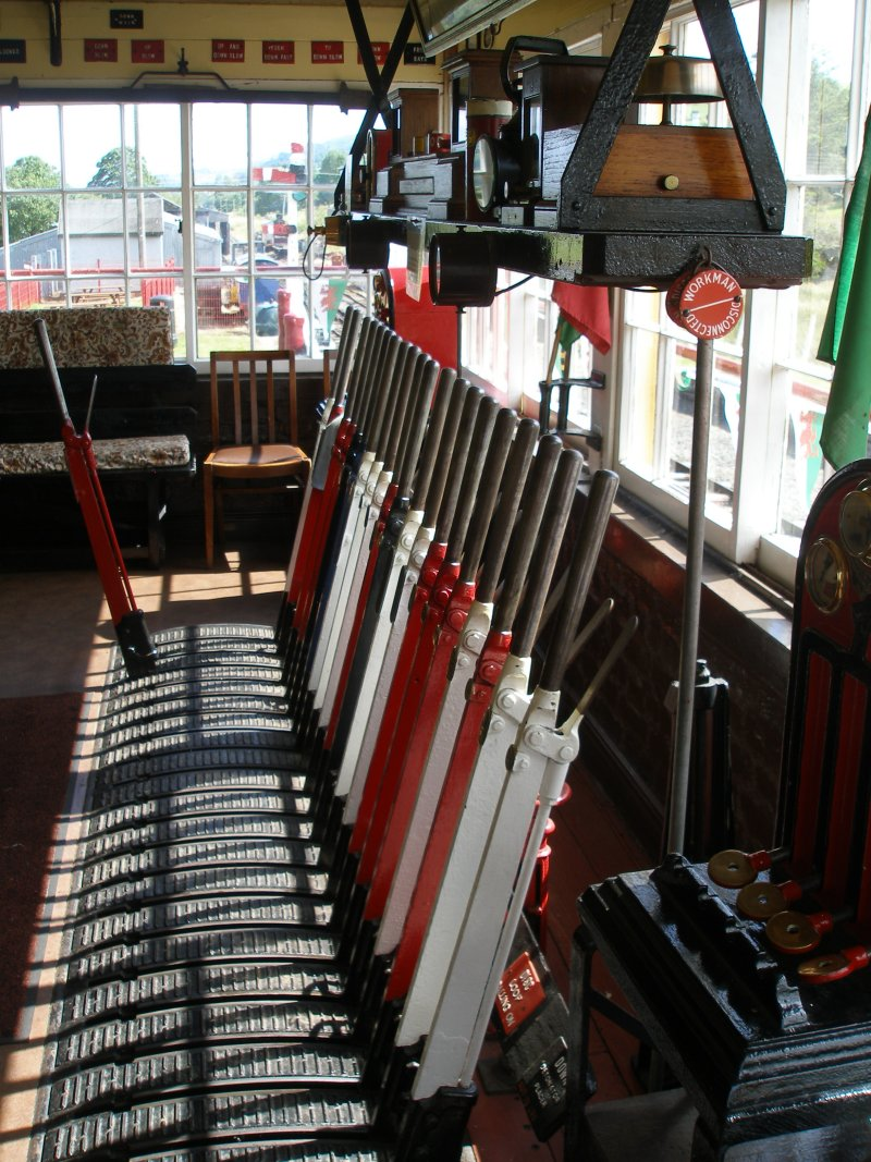 Llanuwchllyn Signal Box 16 July 2015: lever frame