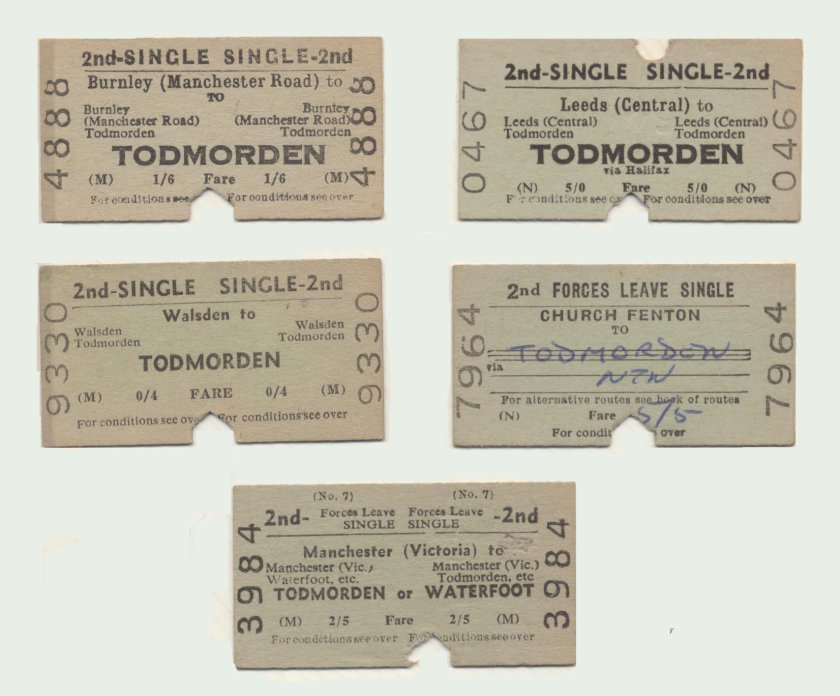 Selection of single railway tickets to Todmorden from Burnley Manchester Road, Leeds Central, Walsden, Church Fenton and Manchester Victoria.