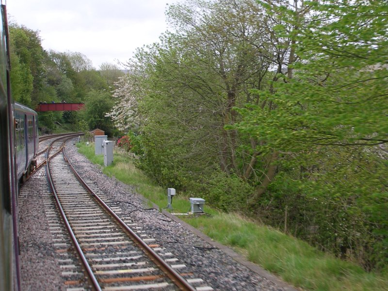First train approaches the Todmodern curve from Copy Pit