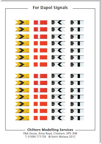 4mm OO scale Waterslide transfers for Dapol BR/LMS upper quadrant semaphore signal arms containing home and distant arms.